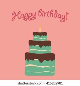 Birthday cake. Vector illustration