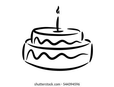Gâteau Anniversaire Dessin Stock Illustrations Images