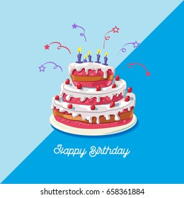 Birthday cake. Vector illustration of a big, sweet fruit cake, isolated on blue background - Happy birthday