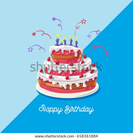 Birthday Cake Vector Illustration Of A Big Sweet Fruit Isolated On Blue Background