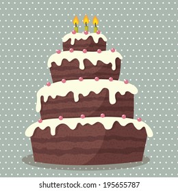 Birthday cake. Vector illustration of cute Birthday cake with three candles