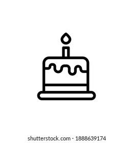 birthday cake vector line icon