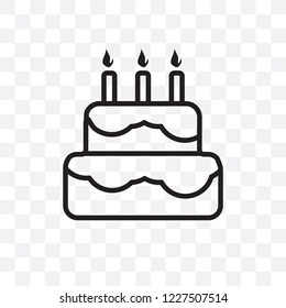Birthday Cake Vector Linear Icon Isolated On Transparent Background Transparency Concept Can Be