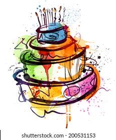Tremendous Watercolor Birthday Cake Images Stock Photos Vectors Shutterstock Funny Birthday Cards Online Hendilapandamsfinfo