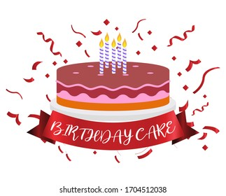 Birthday cake with wax, ribbons background. Used for parties.