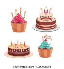 birthday cakes and cupcakes candles lettering celebration and decoration vector illustration