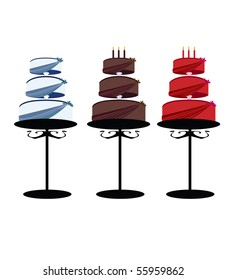 Birthday cakes on stands 2 - vector