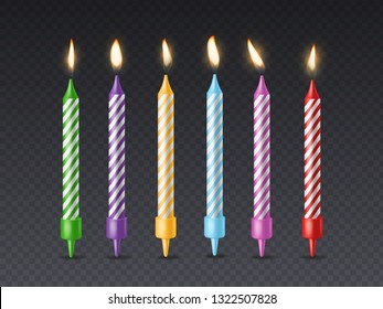 Birthday candle. Candlelight birthday party cake wax burning candle with flicker fire for holiday cakes isolated vector set