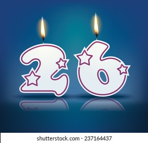 Birthday candle number 26 with flame - eps 10 vector illustration