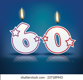birthday candle number 60 with flame eps 10 vector illustration - Gateau Anniversaire 60 Ans