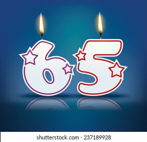Birthday candle number 65 with flame - eps 10 vector illustration