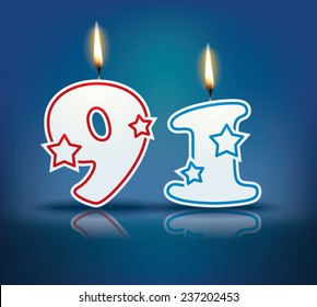 Birthday candle number 91 with flame - eps 10 vector illustration