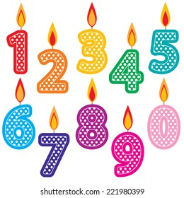 Birthday Candles Clip Art Set. Colorful number Birthday cake candles graphics created using vector software.
