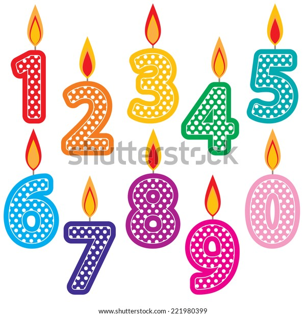 Super Birthday Candles Clip Art Set Colorful Stock Vector Royalty Free Personalised Birthday Cards Veneteletsinfo