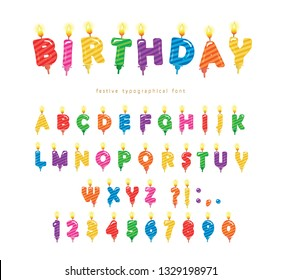 Birthday candles colorful font design. Bright festive ABC letters and numbers isolated on white. Vector illustration