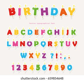Birthday candles colorful font design. Bright festive ABC letters and numbers. Paper cutout stickers.