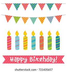 Birthday candles and decoration vector set