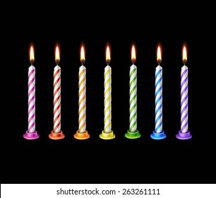 Birthday Candles Flame Fire Light Isolated on Background. Realistic Vector Illustration Multicolored Pink Orange Purple Blue Red Green