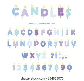 Birthday candles font design. ABC letters and numbers in pastel blue isolated on white.