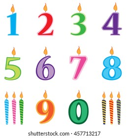 Birthday candles numbers set.