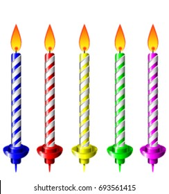 Birthday candles in various colors