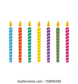 Birthday candles vector set, isolated design elements