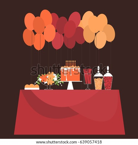 Birthday Candy Bar Cake Flowers Balloons Stock Vector Royalty Free