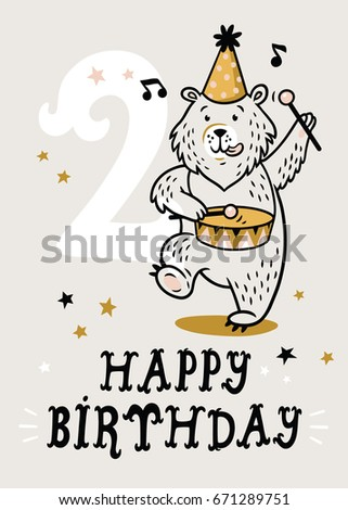 Birthday Card For 2 Year Old Baby Vector Illustration