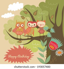 Birthday card with 3 cute owls and tree