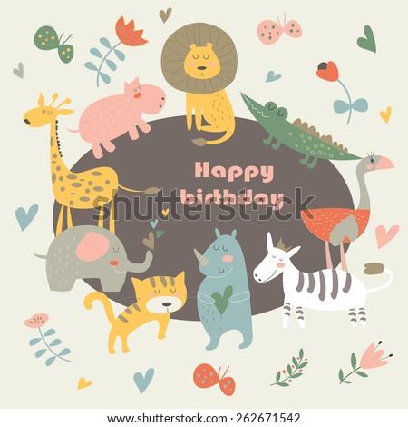Birthday Card With Africa Animals Cute Alligator Tiger Lion Elephant Rhino