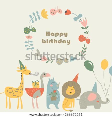 Birthday Card With Africa Animals Cute Lion Elephant Rhino Ostrich And Giraffe