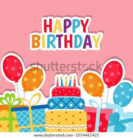 Birthday Card Background Gift Boxes Celebration Image Vectorielle De