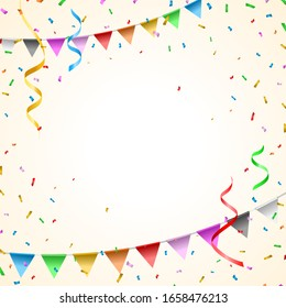 Birthday Card with Balloons , Confetti and Curling Streamer or Party Serpentine . Isolated Vector Illustration