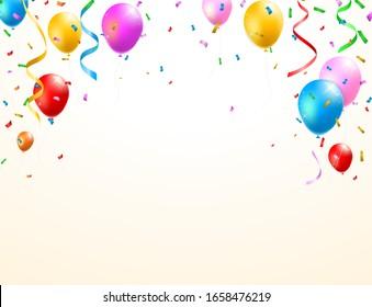 Geburtstagskarte mit Balloons , Confetti und Curling Streamer oder Party Serpentine . Illustration der isolierten Vektorillustration