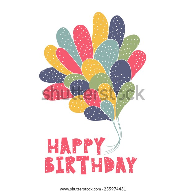 Birthday card with balloons and confetti.  Vector illustration for your holiday greeting.