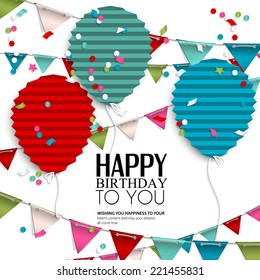 Birthday Card With Balloons In The Style Of Flat Folded Paper