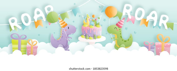 Birthday card banner with cute dinosaur and gift boxes, Birthday cake. Paper cut vector illustration.
