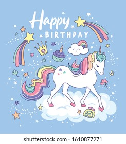 Birthday card with a beautiful unicorn on a the cloud and magical elements.