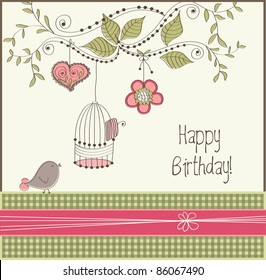 Birthday card with bird and cage, vector