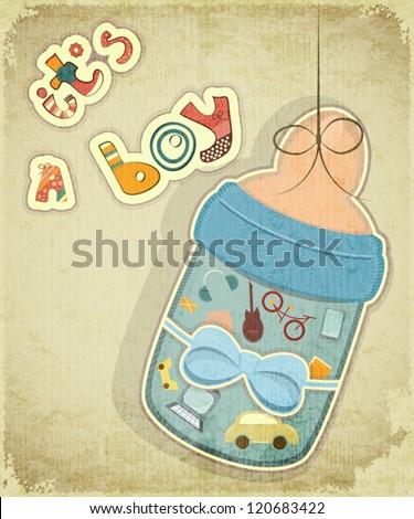 Birthday Card Boy Baby Milk Bottle Stock Vector Royalty Free