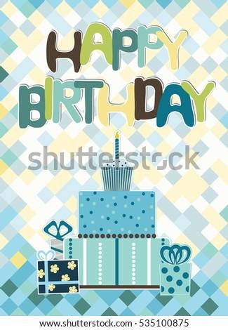 Birthday Card Boy Birthday Card Cake Stock Vector Royalty Free