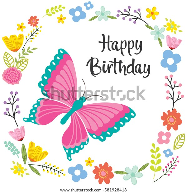 Birthday card with butterfly and flowers design