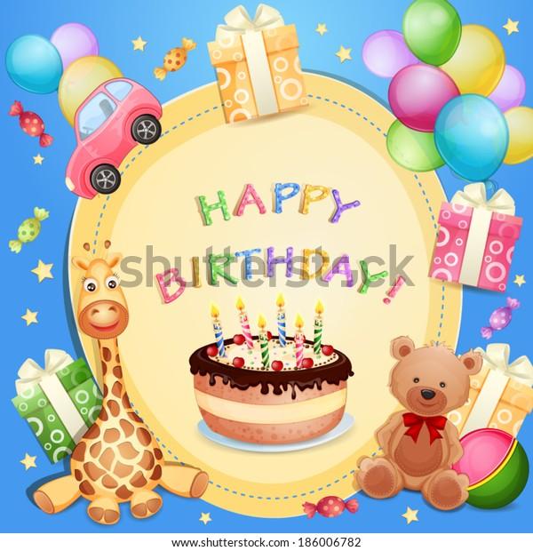 Pleasing Birthday Card Birthday Cake Balloons Gifts Stock Vector Royalty Funny Birthday Cards Online Inifofree Goldxyz