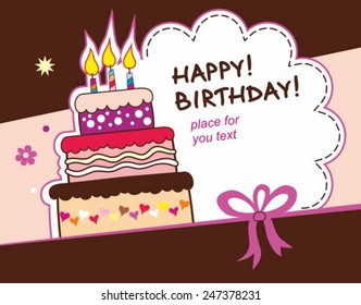 Birthday card with cake illustration and copy space
