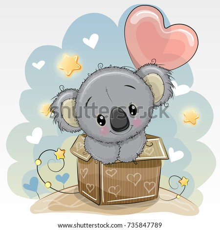 Birthday Card Cartoon Cute Koala Balloon Image Vectorielle De Stock