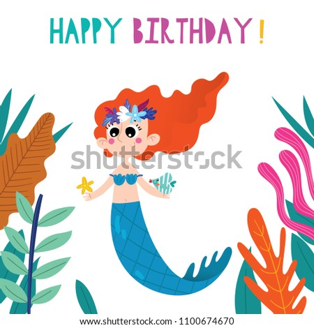 Birthday Card Cartoon Mermaid Hand Drawn Stock Vector Royalty Free