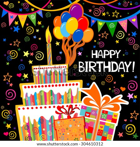 Birthday Card Celebration Black Background With Gift Boxes Balloons Cake And Place