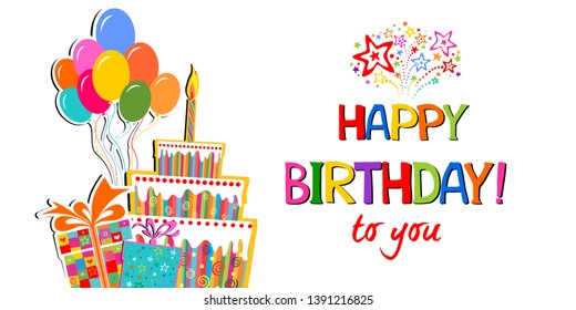 Birthday card. Celebration white background with gift boxes, Balloons, Birthday cake and place for your text. Vector illustration