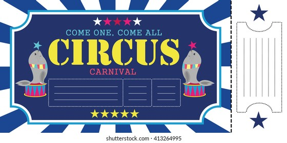 Birthday card with Circus Ticket pass design Template. Vector Illustration