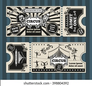 Birthday card with circus tickets template. Invitation, invite, carnival party coupon. Vector illustration